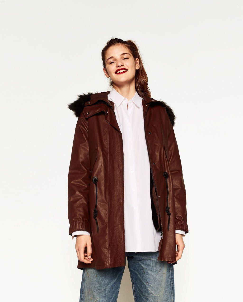 Zara manteau a capuche fourrure