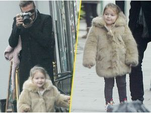 Photos : David Beckham : gaga de son adorable Harper, il la shoote en pleine rue !