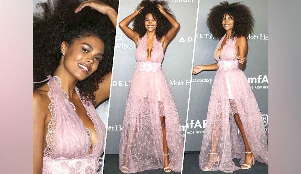 Tina Kunakey : Sexy et féérique en robe rose en tulle au gala amFar de Milan