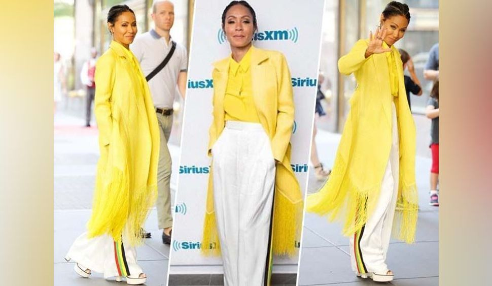 Jada Pinkett Smith : pantalon flare et veste jaune poussin, on adore !
